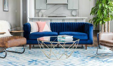living room with blue and white art deco colors