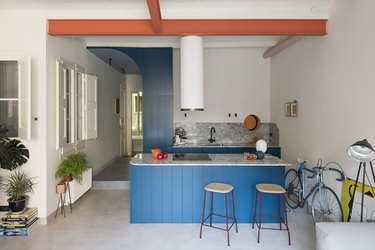 Colorful blue kitchen