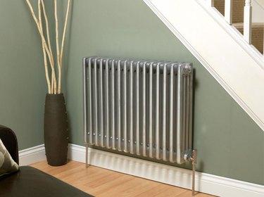 Silver radiator.