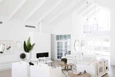 Tropical white living room idea