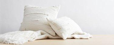 White throw pillows