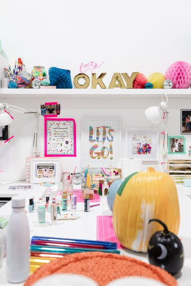 Oh Joy! studio with colorful arts and crafts supplies