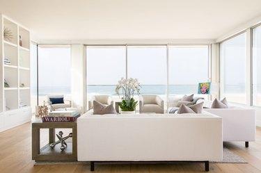 Modern traditional white living room idea