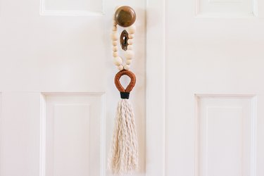 Door tassels made with wood beads and string