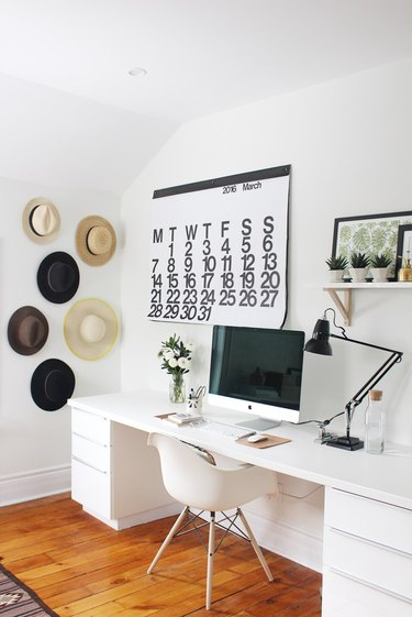 minimalist modern home office design with long desk
