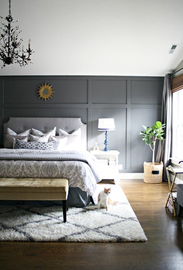 bedroom rug ideas with a soft rug in a gray bedroom