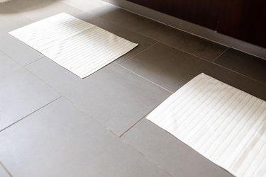 close up of slate bathroom tile