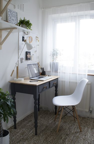 minimalist modern home office design with peg board