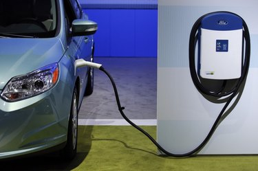 Charging electric car.