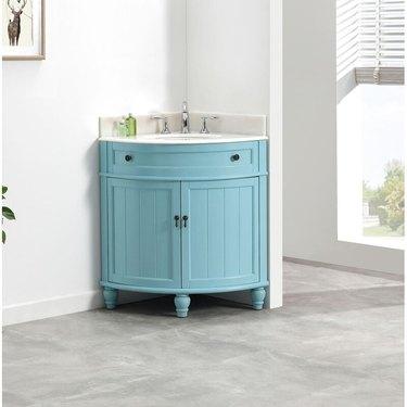 blue corner bathroom vanity from Wayfair
