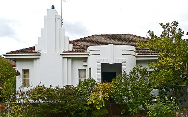 White art deco house with geometric details