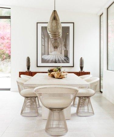 White tile minimalist flooring in midcentury minimalist dining room
