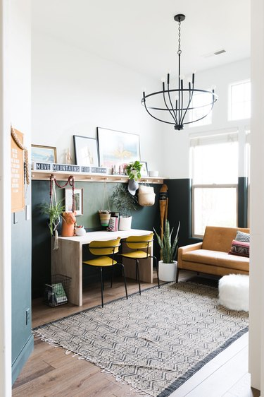kid-friendly green boho room with vintage accents