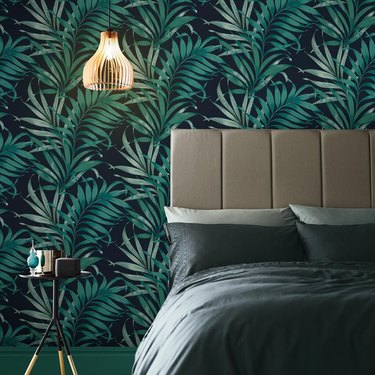 dark palm leaf printed wallpaper