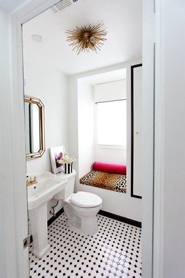 black painted trims small bathroom