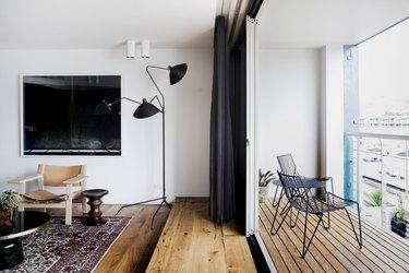 white living room with minimalist balcony idea