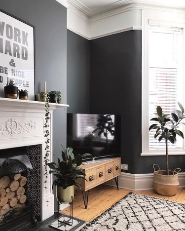 gray industrial living room idea with hairpin leg furniture
