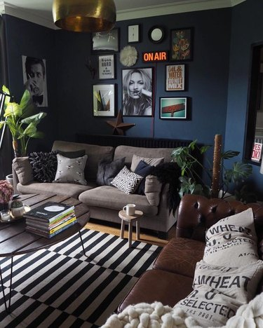 dark industrial living room idea with navy blue walls and striped area rug