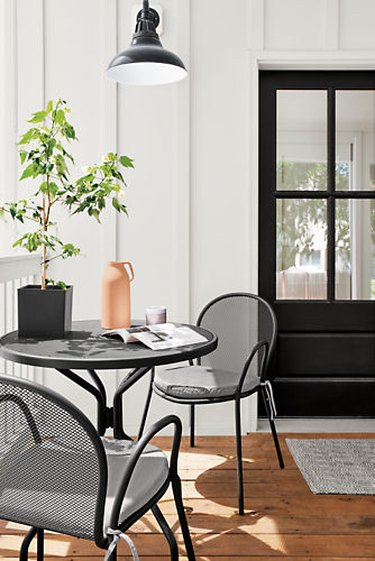 minimalist balcony idea with black and white palette