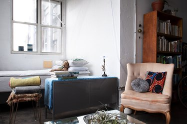 Brooklyn loft with vintage furnishings and bookcase