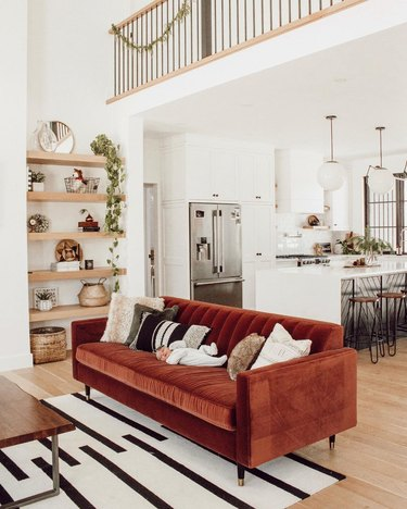 Rust sofa in white living room with black and white living room