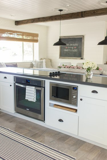 Kitchen island with stove and oven