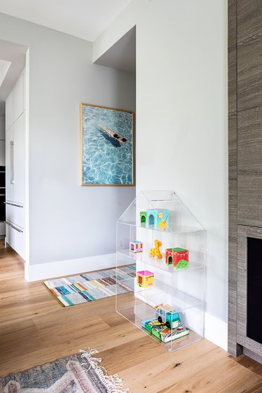 family room toy storage idea with acrylic house bookcase
