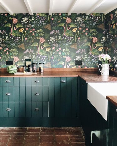 green kitchen wallpaper idea with floral print