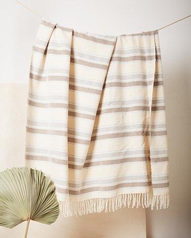 hanging striped throw blanket