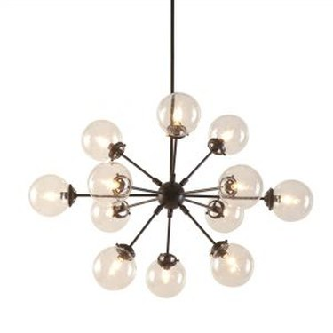 Brass sputnick chandelier with 12 arms and clear globes