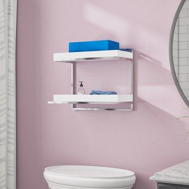minimalist wall mounted bathroom shelves
