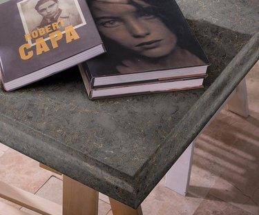 Corner of quartz countertop with an ogee edge.