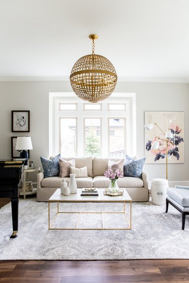 Living room with gold chandelier