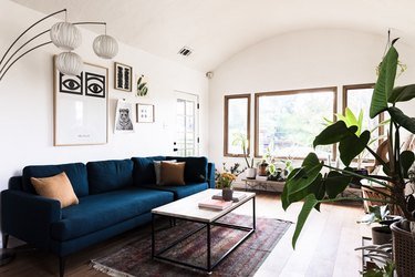 Living room with navy blue couch