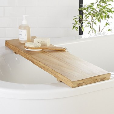 rustic wood bathtub caddy