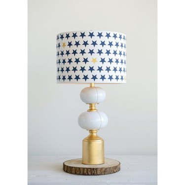 brushed gold ceramic and metal table lamp