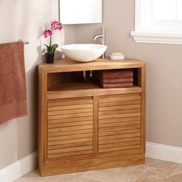 wood corner bathroom vanity from Signature Hardware