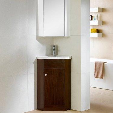wood corner bathroom vanity from Overstock