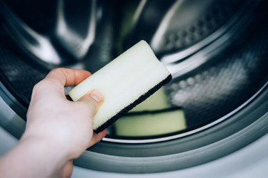 Cleaning sponge in washing machine