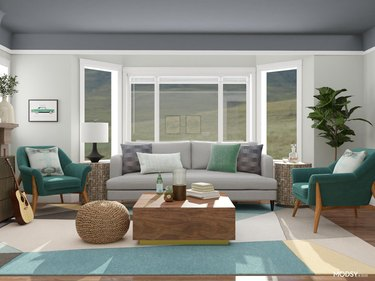 mid-century transitional room with comfortable furnishings and calming colors