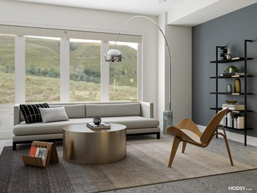 mid-century minimalist room with reserved color palette