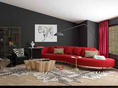 bold, minimalist maximalist room with a touch of glam.