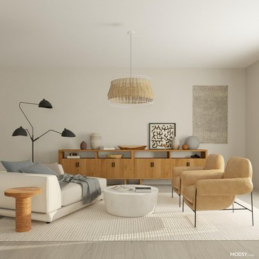 cool and trendy room with neutral color palette