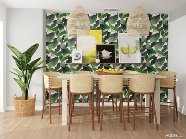 eclectic and colorful dining room
