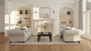 classic and organized room with neutral colors