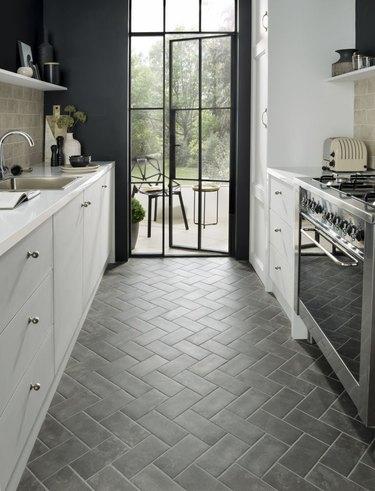 Scandinavian kitchen floor tile with porcelain in herringbone pattern