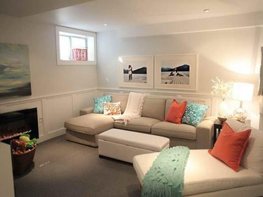 Furnished room in a finished basement