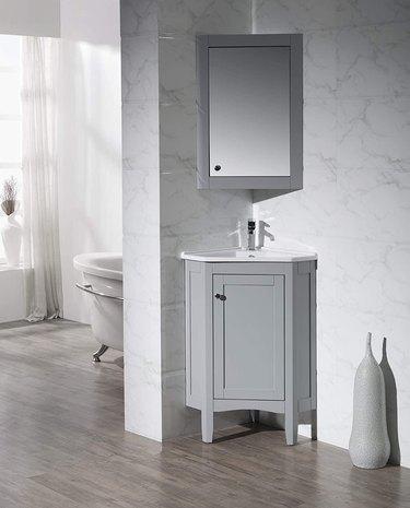 gray corner bathroom vanity from Lowe's