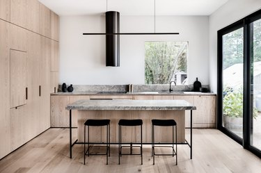 modern kitchen with thick and thin countertops