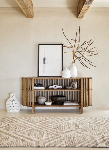 living room space with console table